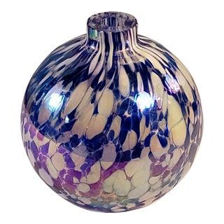 Vintage Hand Blown Art Glass Sunbathers Blue & White Iridescent Oil Lamp Vase For Sale