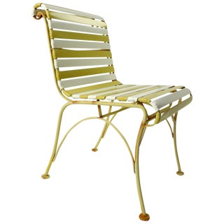 Pair of Wood Wrought Iron and Plastic Strap Garden Patio Poolside Lounge Chairs For Sale