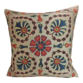 Vintage Floral Motif Suzani Silk on Silk Embroidered Decorative Square Pillow
