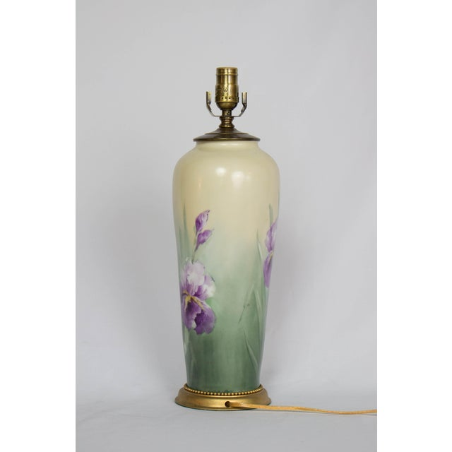 Art Nouveau Restored Early 20th Century Austrian Hand Painted Iris Lamp. For Sale - Image 3 of 9