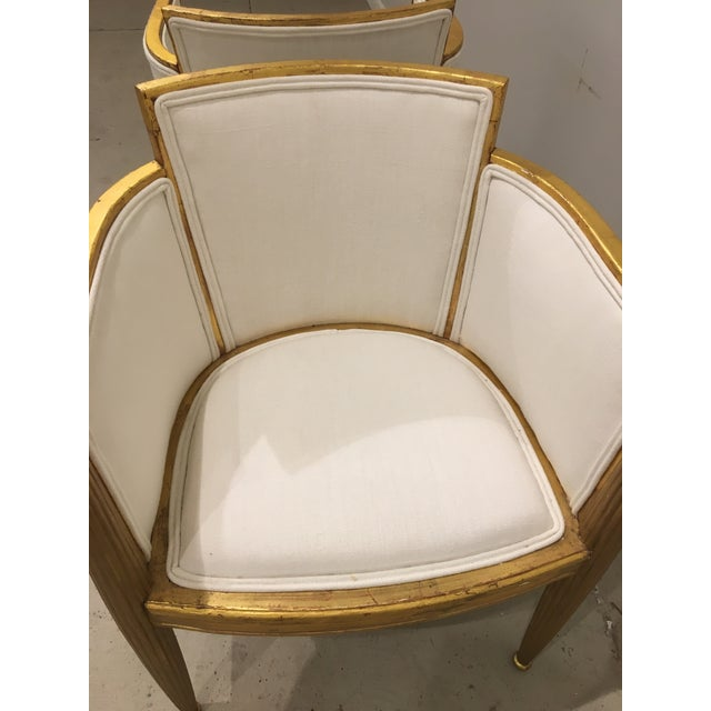 pair of art deco gilded chairs by paul follot For Sale In Charleston - Image 6 of 9