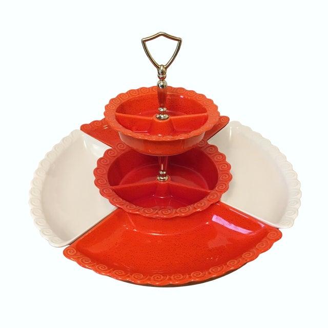 Ceramic 1960s Vintage Orange & White Ceramic Lazy Susan Snack Server For Sale - Image 7 of 7