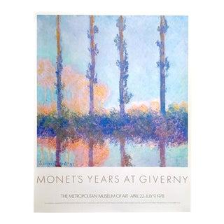 "Claude Monet Rare Vintage 1978 Lithograph Print Metropolitan Museum Collector's Exhibition Poster "" Poplars "" 1891 For Sale"
