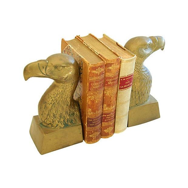 Patriotic 1960s Brass Bald Eagle Bookends - Image 4 of 6