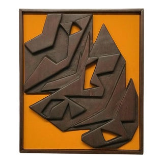 Mid Century Modern Wall Relief Wood Sculpture For Sale