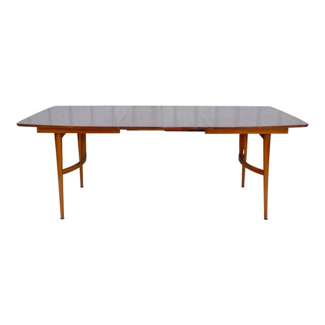 Mid-Century Dining Table With Two Leaves For Sale