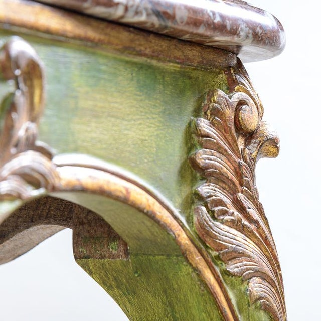 Antique Painted & Parcel Gilt Louis XV Style Console Table With Marble Top For Sale - Image 9 of 12