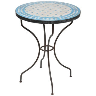 Moroccan Mosaic Blue Tile Bistro Table on Iron Base For Sale