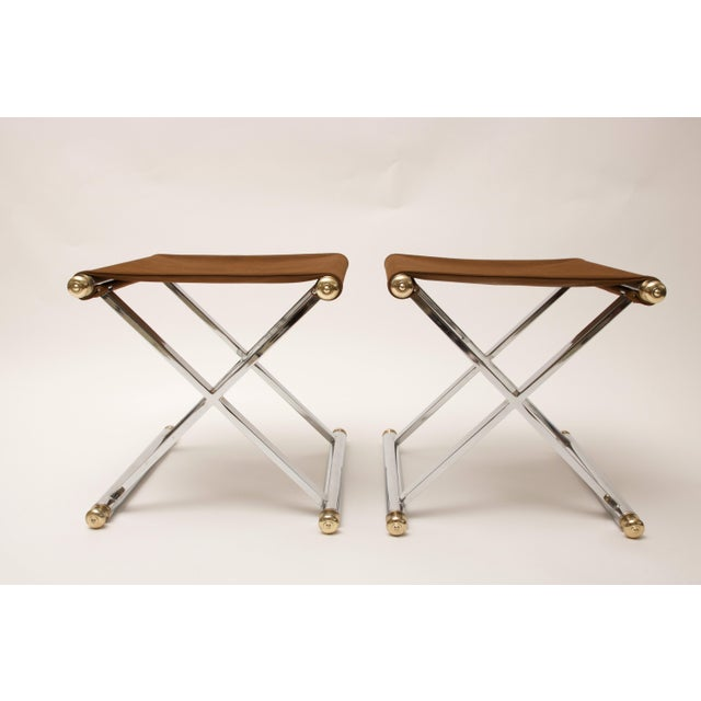 Pair of Hollywood-Regency X-Base Stools, Polished Chrome, Brass and Faux Suede - Image 8 of 11