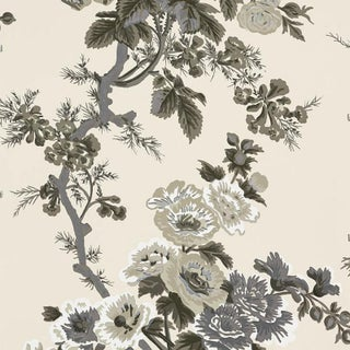 Sample - Schumacher Pyne Hollyhock Wallpaper in Charcoal Preview