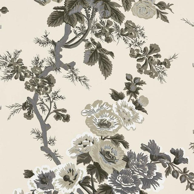 Contemporary Sample - Schumacher Pyne Hollyhock Wallpaper in Charcoal For Sale - Image 3 of 3