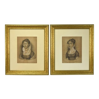 German Berensbach Kellerman Women Empire Style Clothing Charcoal Drawings - a Pair For Sale