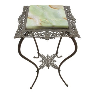 Victorian Bronze Colored Plant Stand With Onyx For Sale