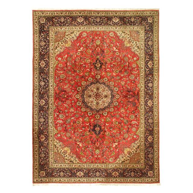 1990s Rust Persian Silk&wool Tabriz 8'2'' X 11'3'' For Sale - Image 5 of 5
