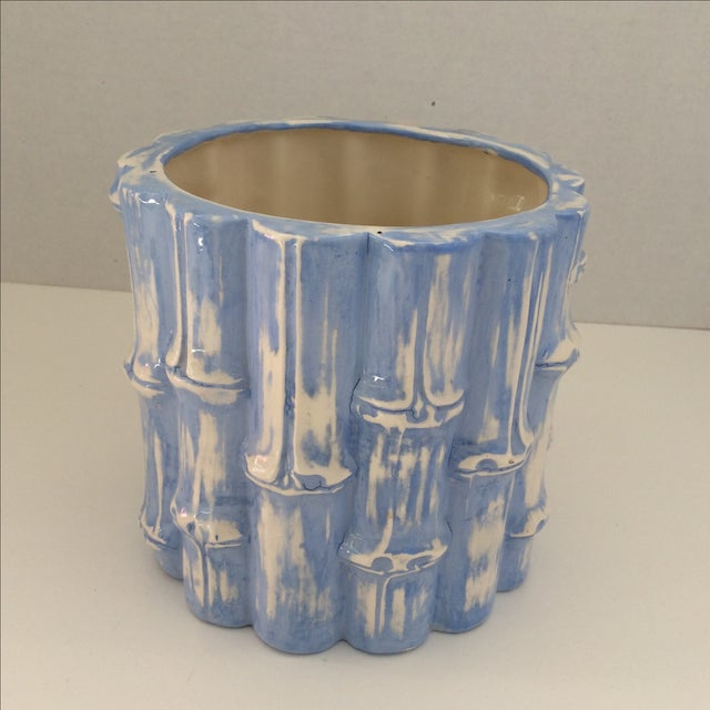 Hand Painted Blue Bamboo Cache Pot - Image 2 of 5