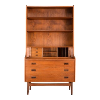 Danish Modern Johannes Sorth Danish Teak Secretary Bookcase