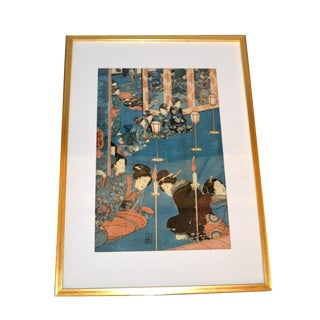 Utagawa Kuniyoshi Japanese Original Gilt Framed Woodcut Print on Paper C. 1845 For Sale