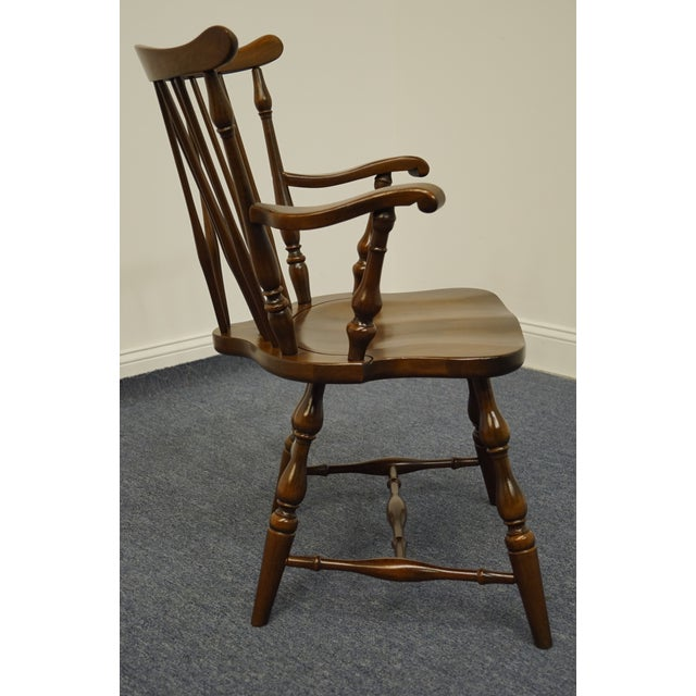 Brown Pennsylvania House Solid Cherry Fiddleback Duxbury Windsor Arm Chair For Sale - Image 8 of 12