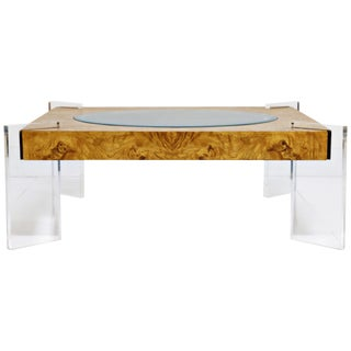 Vladimir Kagan Burled Wood and Lucite Coffee Table, Circa 1970, Restored For Sale