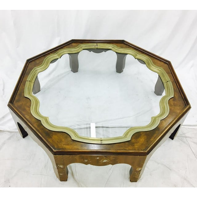 Baker Furniture Company Baker Mid-Century Coffee Table with Brass & Glass Tray Top For Sale - Image 4 of 11