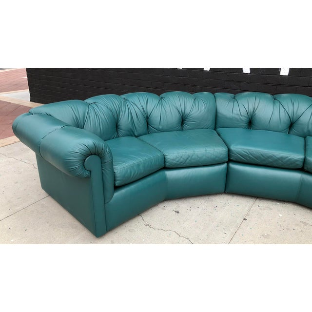 Mid-Century Modern 1970's Tufted Leather A. Rudin Circular Sectional Sofa For Sale - Image 3 of 10