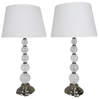 Rock Crystal and Polished Brass Lamps With Linen Shades For Sale