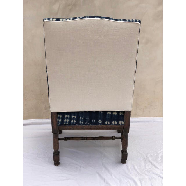 19th Century French Oak Carved Armchair W/ Mali Indigo Textile For Sale In Los Angeles - Image 6 of 13