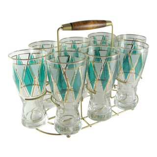 Libbey Baguette Emerald Teal Green Pilsner Glass Tumblers in Brass Caddy - Set of 9 For Sale
