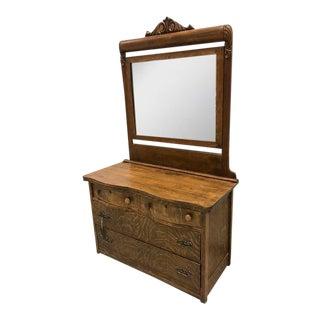 Antique Tiger Oak 4 Drawer Vanity Dresser
