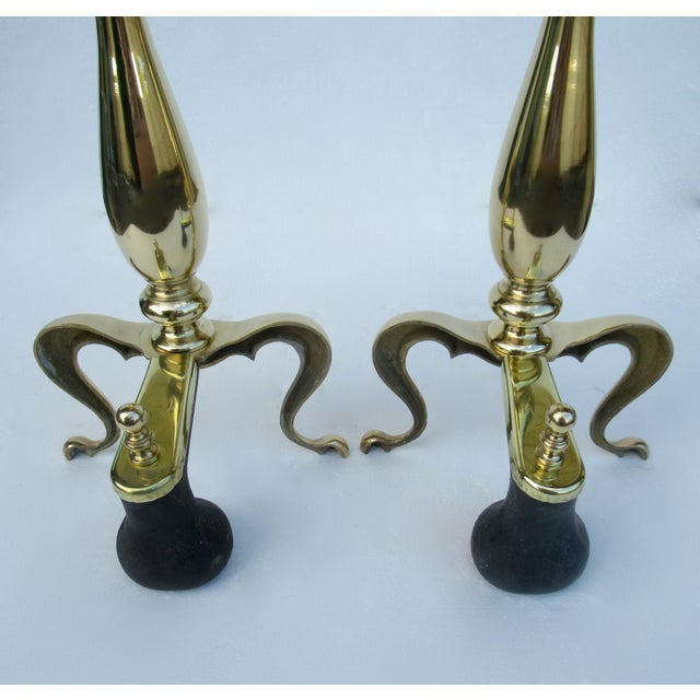 C1970s Vintage American Regency Brass Claw-Footed Andirons - a Pair For Sale - Image 11 of 13