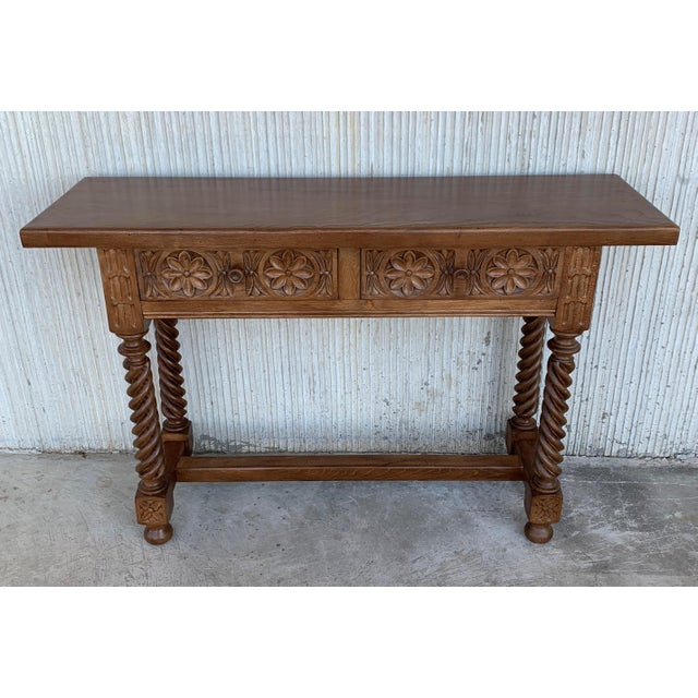 Spanish Baroque Carved Walnut Console Table With Two Drawers, Circa 1860 For Sale - Image 4 of 13