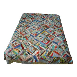 20th Century Hand Made Tied, Hand Pieced Quilt 1915 For Sale