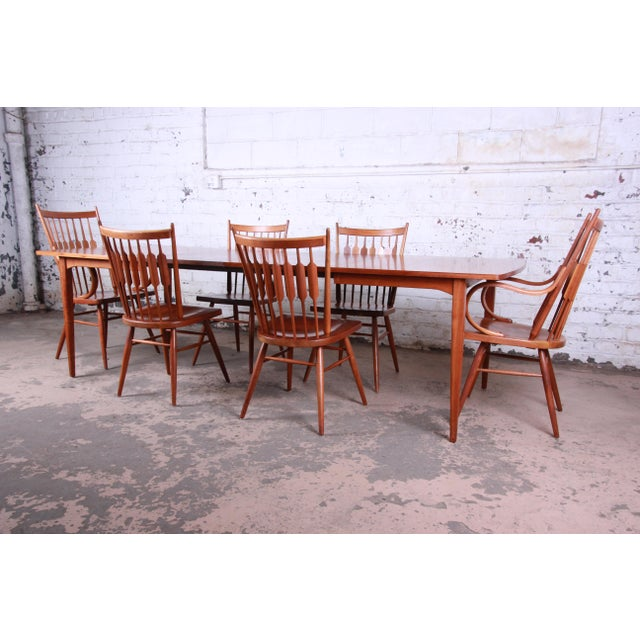 Kipp Stewart for Drexel Declaration Solid Walnut Dining Chairs, Set of 6 For Sale - Image 12 of 13