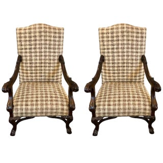 Pair of French Walnut Open Armchairs in the Baroque Style For Sale