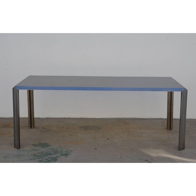 Metal Rare Brushed Stainless Steel and Laminate Desk by Bernard Marange for Tfm For Sale - Image 7 of 7