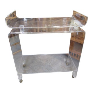 Vintage Rolling Pagoda Lucite Cart For Sale