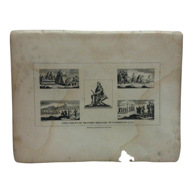 """Antique Rare Original Engraving, """"Specimens of Beaver's Military Punishments - 1725"""" by John Hogarth, circa 1840 For Sale"""