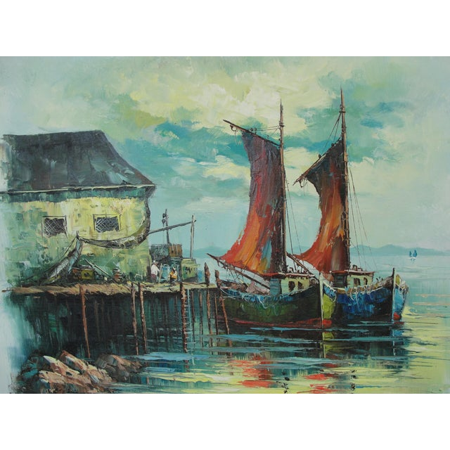 Vintage Mid Century Modern Harbor Oil Painting - Image 3 of 7