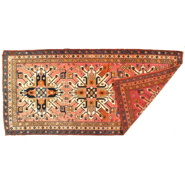 Hand knotted 100% hand-spun lamb's wool rug on a wool foundation. All natural dyes .From Russia. This rug has a dense,...