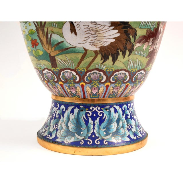 Large Decorative Cloisonné With Blossom Flowers Vase For Sale - Image 4 of 13