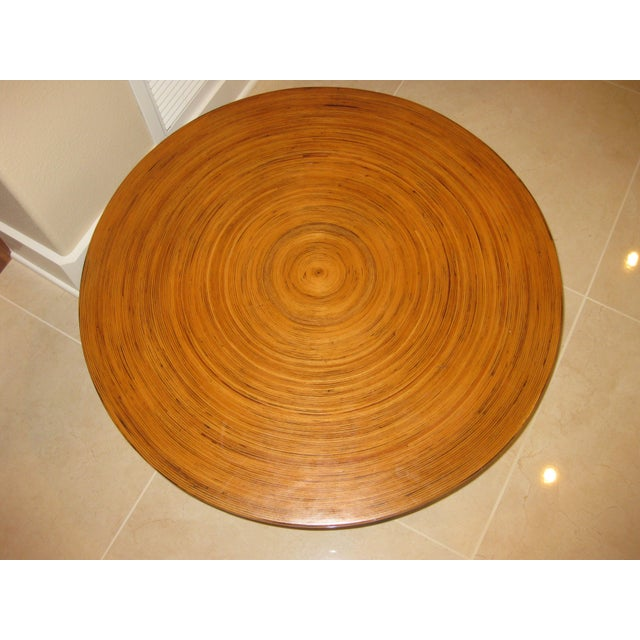"""1970s Mid-Century Modern Round Drum Low Table 30"""" For Sale - Image 5 of 12"""