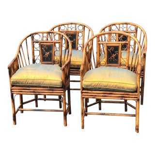 1980s Vintage Theodore Alexander Bamboo Brighton Chairs- Set of 4 For Sale