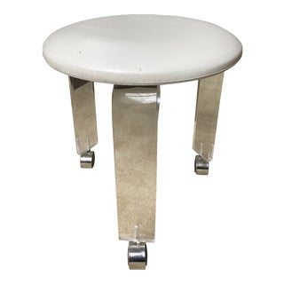 Mid Century Lucite and Faux Leather Stool For Sale