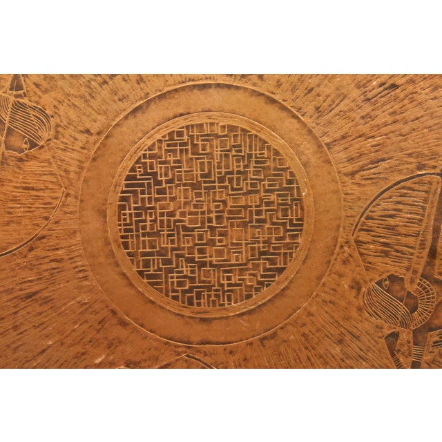20th Century Egyptian Copperstyle Engraved Top Center Table For Sale In Los Angeles - Image 6 of 11