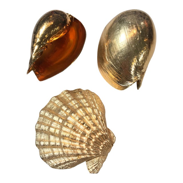 Large 1980's Gold Plated Shells - Set of 3 For Sale