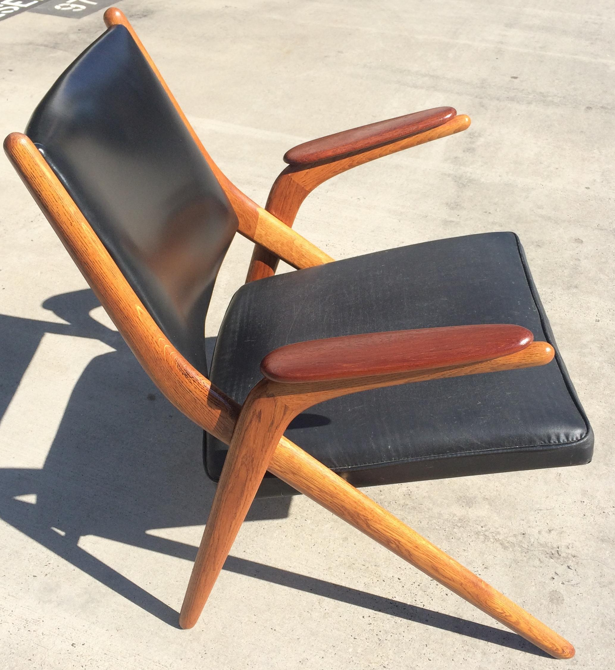 Danish Mid Century Modern Teak Scissor Chair   Image 2 Of 10