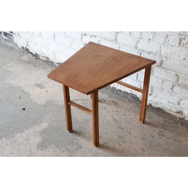 Edward Wormley for Dunbar Walnut Cantilever Wedge End Table, 1950s For Sale - Image 13 of 13