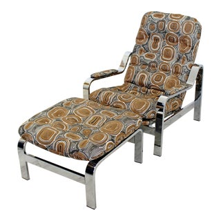 Mid-Century Modern Baughman Chrome Steel Reclining Chair & Ottoman Selig For Sale