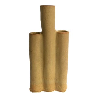 Organic Modern Pottery Candelabra / Stem Vase For Sale