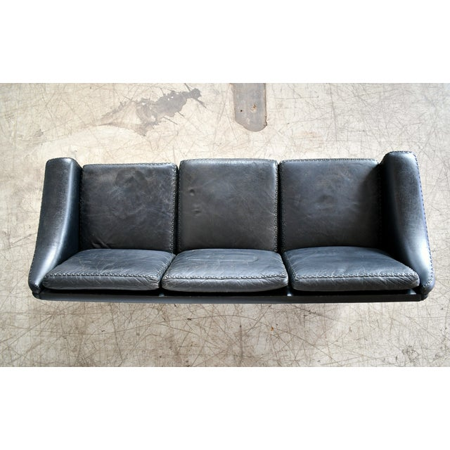 Danish Airport Style Sofa Model Matador in Black Leather by Eran in 1966 For Sale - Image 10 of 13